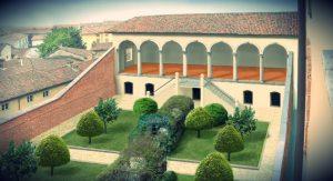 Loggia delle dame – ricostruzione grafica virtuale di Mario Castellani per Vigevano nel tempo La loggia delle dame e il mito del giardino